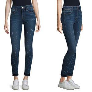 Frame Le High Paint Splatter Frayed Skinny Jeans